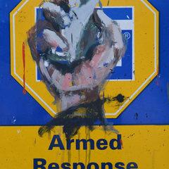 Slide dathini mzayiya armed response 2012 oil on board 50 x 41 cm no 105