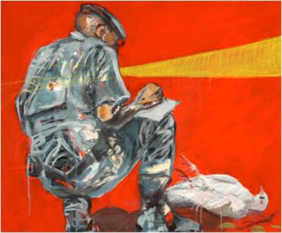 Normal dathini mzayiya peace is dead 2012 oil oil stick on canvas 60 x 90 cm no 95